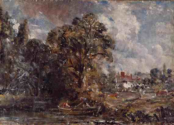 John Constable: A river scene, with a farmhouse near the water's edge