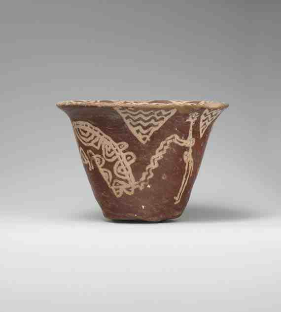 Bowl with scene of a man hunting hippopotami