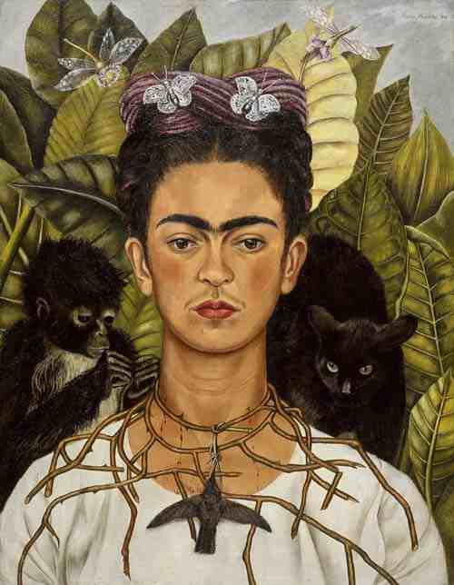 Frida Kahlo: Self-Portrait with Thorn Necklace and Hummingbird