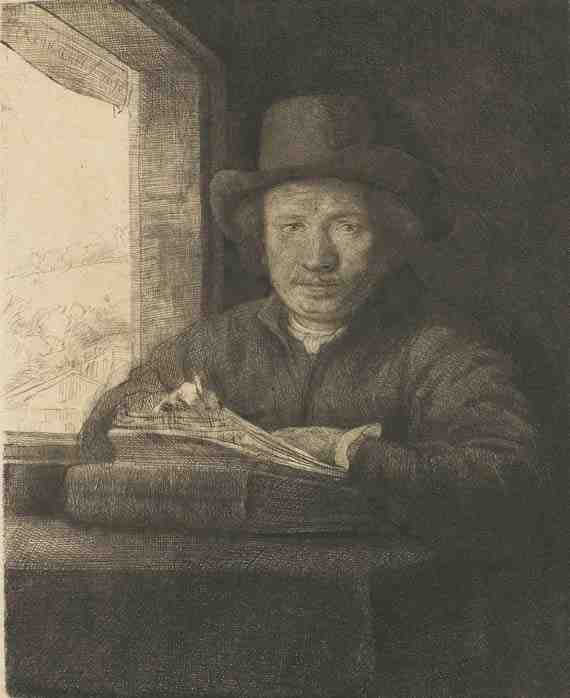 Rembrandt: Self-Portrait Drawing at a Window