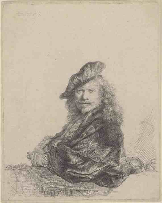 Rembrandt: Self-Portrait Leaning on a Stone Sill