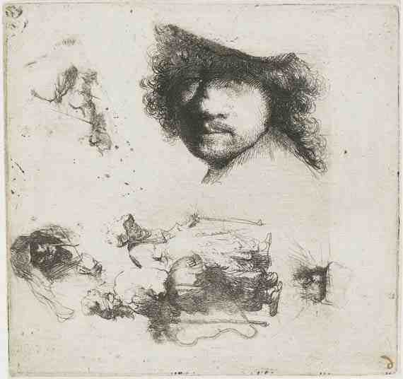 Rembrandt: Sheet of Studies with Self-Portrait