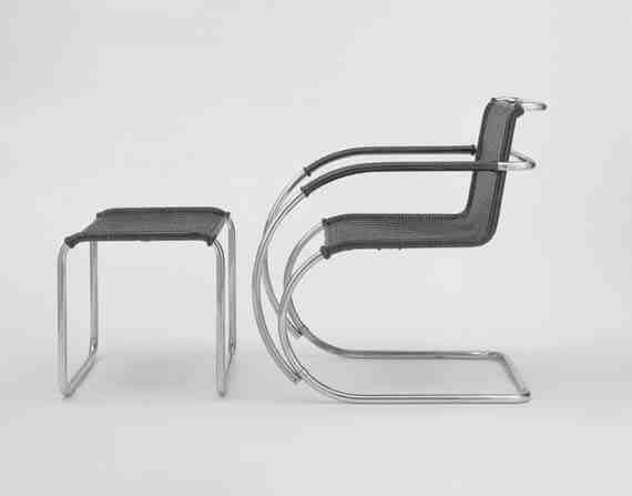 Ludwig Mies van der Rohe MR20 Armchair and Stool