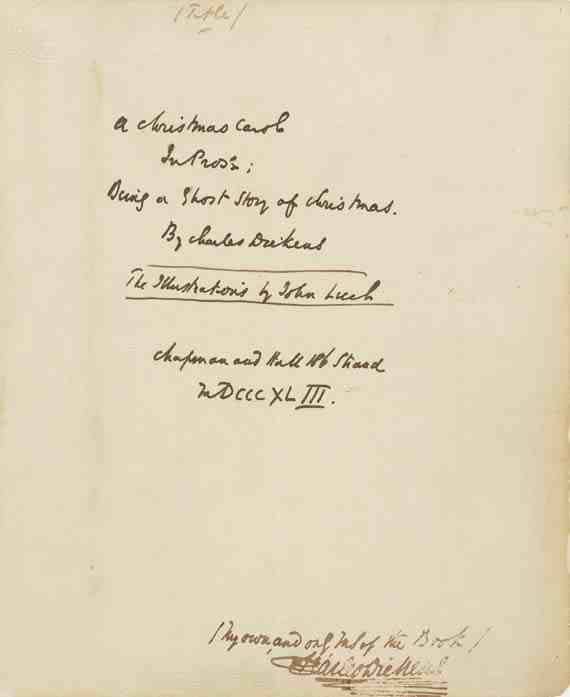 Charles Dickens manuscript A Christmas Carol in Prose: Being a Ghost Story of Christmas