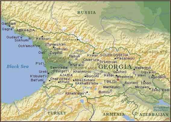 map of Georgia, Caucasus