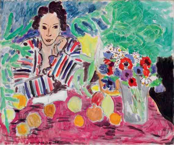 Matisse: Striped Robe, Fruit, and Anemones
