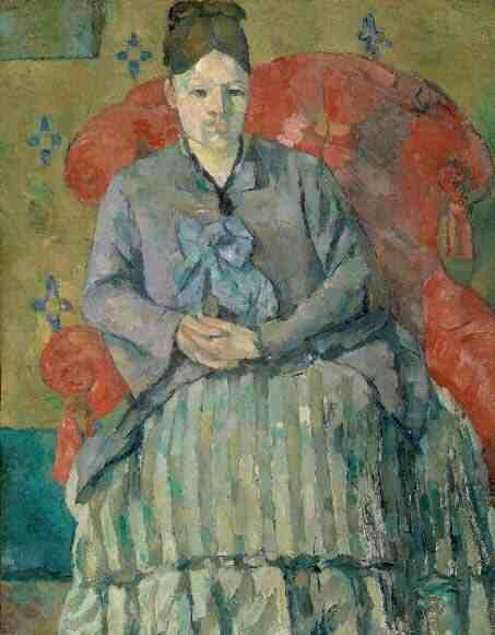 Madame Cezanne in a Red Armchair.