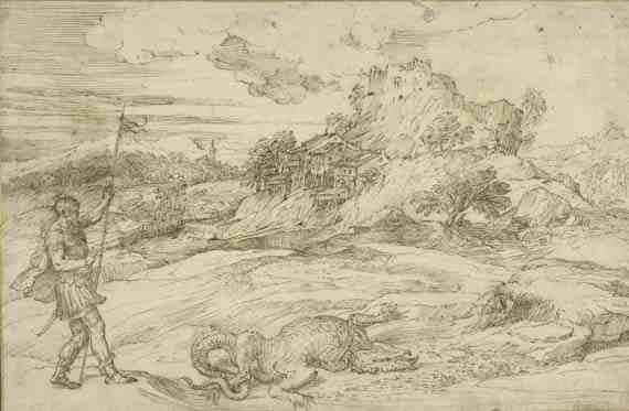 Titian, Landscape with St. Theodore Overcoming the Dragon