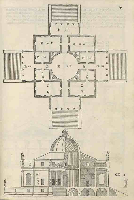 Palladio, Andrea: Plan and Elevation of the Villa Rotunda