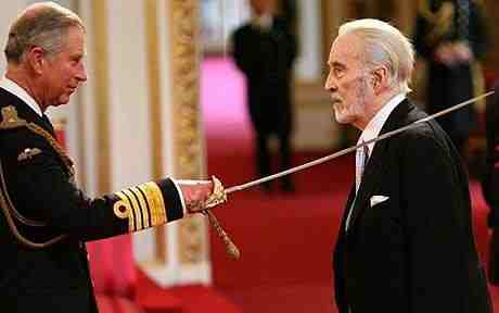 Christopher Lee knighted by the Prince of Wales, 2009