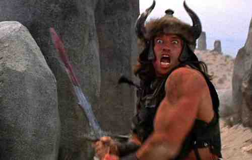 Arnold Schwarzenegger as Conan The Babarian (1982, directed by John Milius)