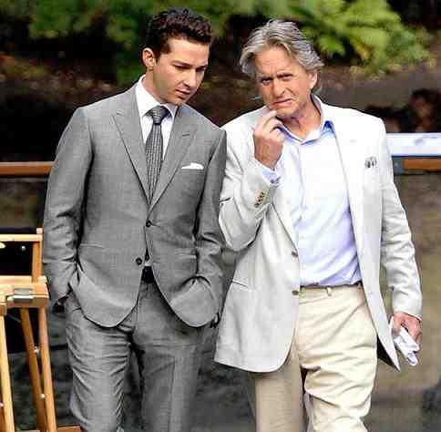 Shia LeBeouf and Michael Douglas on the set of Wall Street: Money Never Sleeps