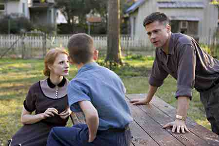 Brad Pitt, Jessica Chastain, and one of the kids in The Tree of Life