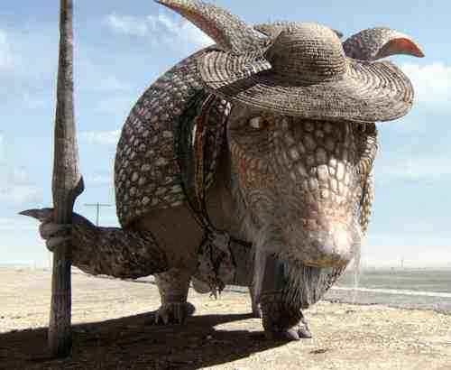 Alfred Molina, as an armadillo, is Rango's spiritual guide.