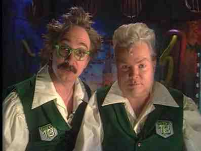 Dr. Forrester and TV's Frank on Mystery Science Theater 3000