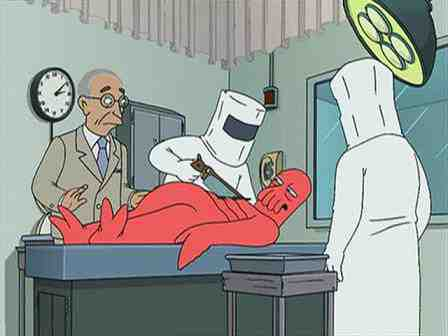 Dr. Zoidberg gets live autopsied as President Truman watches on Futurama