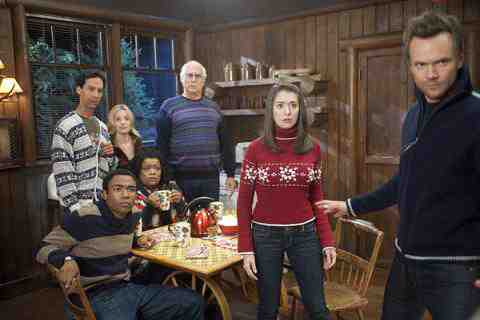 Donald Glover as Troy, Danny Pudi as Abed, Gillian Jacobs as Britta, Yvette Nicole Brown as Shirley, Chevy Chase as Pierce, Alison Brie as Annie, Joel McHale as Jeff in NBC's Community