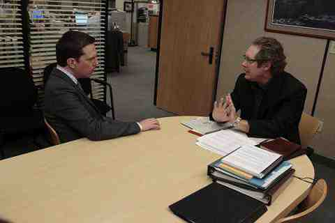 Ed Helms as Andy Bernard, James Spader as Robert California in The Office