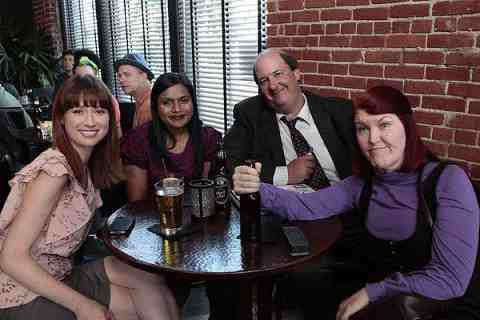 Ellie Kemper as Kelly Erin Hannon, Mindy Kaling as Kelly Kapoor, Brian Baumgartner as Kevin Malone, Kate Flannery as Meredith Palmer in The Office Trivia