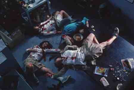 The infamous lighthouse scene in Battle Royale is among the film's most brutal.