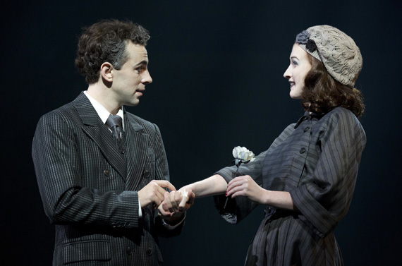 Rob McClure as Charlie Chaplin and Erin Mackey as Oona O'Neill in Chaplin