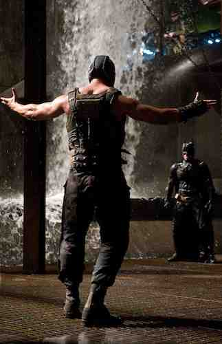 Batman faces Bane in the Dark Knight Rises