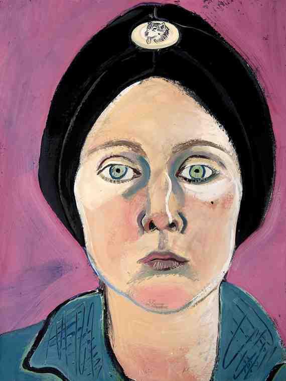 Joan Brown: Untitled (Selfportrait in Turban with Eskimo Dog Pin)