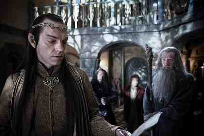 THE HOBBIT: AN UNEXPECTED JOURNEY, l-r: Hugo Weaving, Richard Armitage, Martin Freeman, Ian McKellen, 2012,