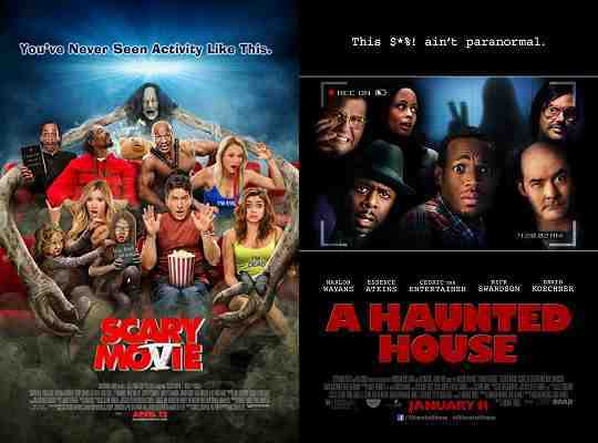 The posters for A Haunted House and Scary Movie V